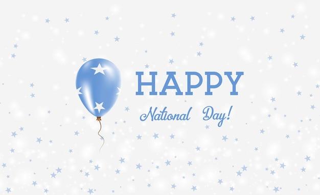 Affiche patriotique de la fête nationale de la micronésie. ballon volant en caoutchouc aux couleurs du drapeau micronésien. fond de la fête nationale de la micronésie avec ballon, confettis, étoiles, bokeh et étincelles.