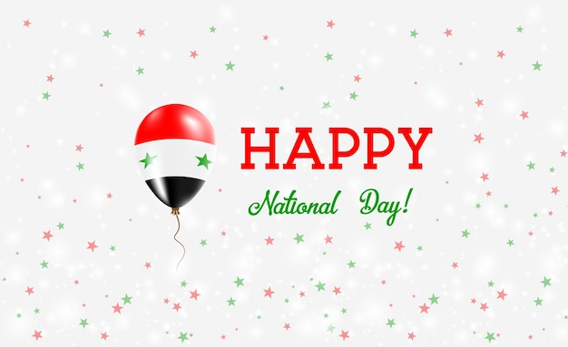 Affiche patriotique de la fête nationale de la syrie. ballon volant en caoutchouc aux couleurs du drapeau syrien. fond de la fête nationale de la syrie avec ballon, confettis, étoiles, bokeh et étincelles.