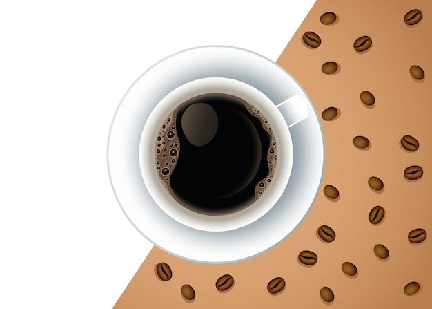Affiche de pause café avec tasse et graines vector illustration design