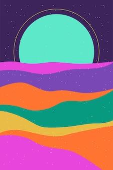 Affiche de paysage de boho minimaliste ou fond de motif de conception d'impression de t-shirt