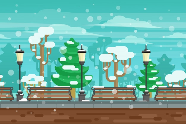 Affiche de paysage de jardin d'hiver