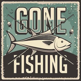 Affiche de pêche rétro vintage