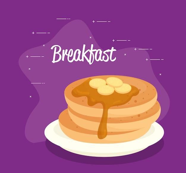 Affiche de petit-déjeuner, crêpes au sirop