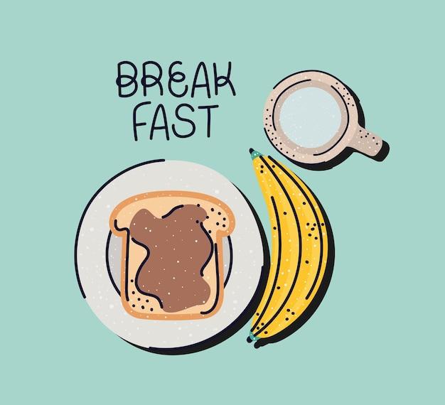 Affiche de petit déjeuner mignon