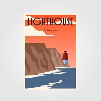 Affiche phare illustration vintage design minimaliste