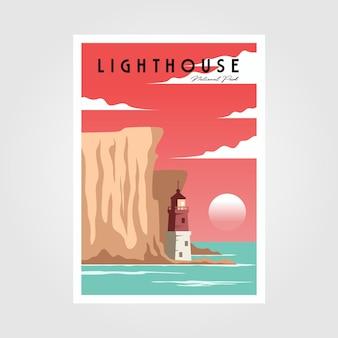 Affiche phare et mer