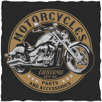 Affiche de pièces et accessoires de motos de californie pour t-shirt sur le noir