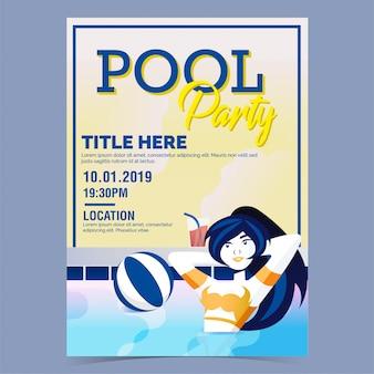 Affiche piscine fête