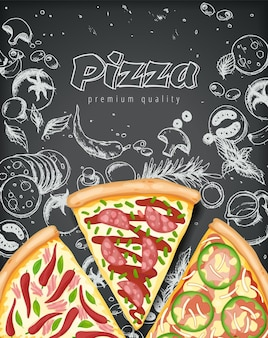 Affiche de pizza couleur.