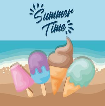 Affiche de plage d'été avec jeu de crème glacée