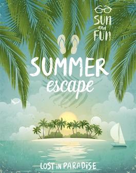 Affiche plage tropicale escapade estivale
