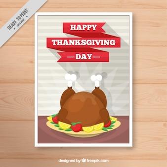 Affiche avec un plat délicieux pour le jour de thanksgiving