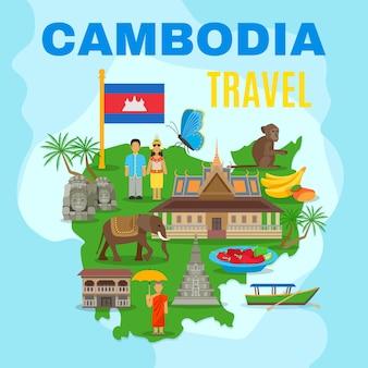 Affiche plate de carte de voyage culturel du cambodge