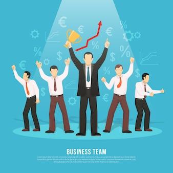 Affiche plate du succès de l'équipe commerciale