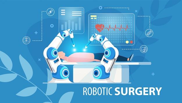 Affiche plate médicale de chirurgie robotique innovante