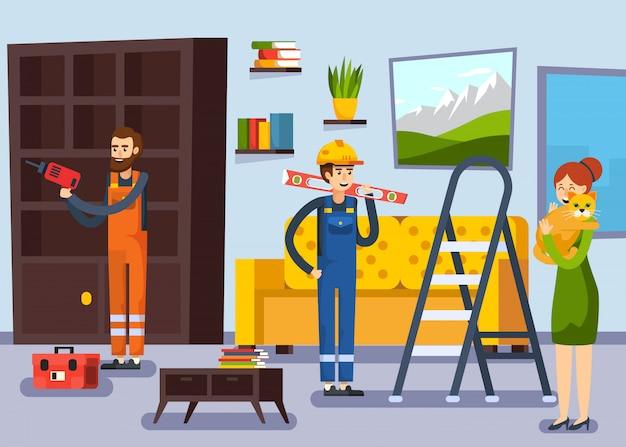 Affiche plate d'ouvriers de rénovation à la maison