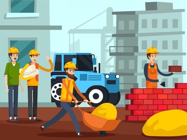 Affiche plate de personnages de travailleurs de la construction