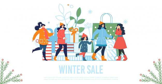 Affiche plate de soldes d'hiver avec femmes et enfants heureux