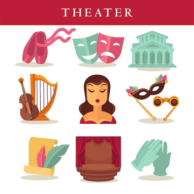 Affiche plate de théâtre d'équipements symboliques sur blanc.