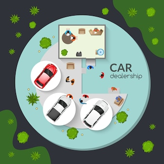 Affiche plate de la vue de dessus de concession de voiture
