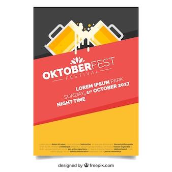 L'affiche la plus moderne d'oktoberfest avec un design plat