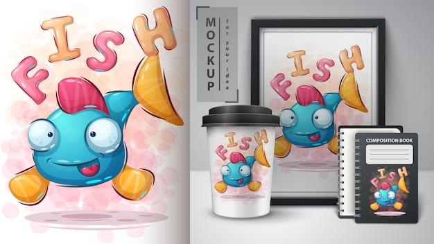 Affiche de poisson mignon et merchandising
