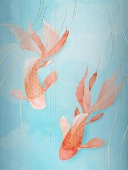 Affiche de poisson rouge de luxe oriental sur fond bleu avec des éléments dorés et des textures aquarelles.