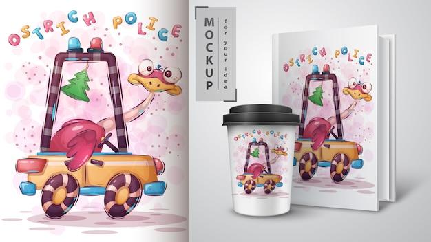 Affiche de police d'autruche et merchandising