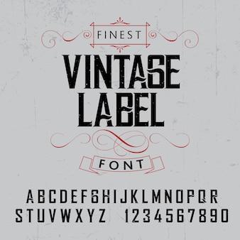 Affiche de police d'étiquette vintage la plus fine sur l'illustration grise