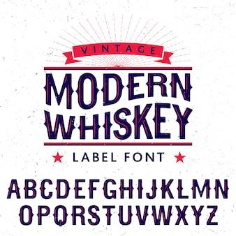 Affiche de police d'étiquette de whisky moderne