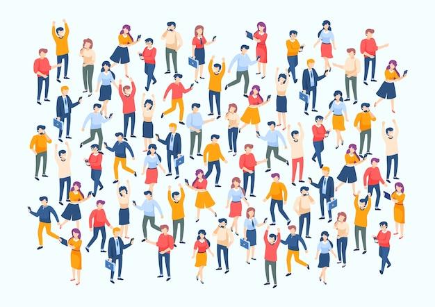 Affiche de la population avec une équipe commerciale professionnelle de caractère