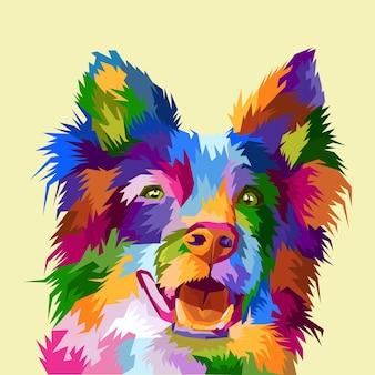 Affiche de portrait pop art de chien coloré