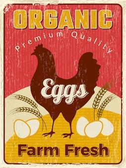 Affiche de poulet. plaque de nourriture de ferme saine d'oeuf frais