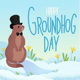 Affiche pour la décoration de vacances du jour de la marmotte fond avec une marmotte représentée debout dans un pré, la neige printanière se trouve autour mais l'herbe verte et les premières fleurs sont déjà visibles