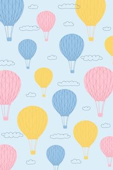 Affiche pour enfants avec montgolfières, soleil, nuages en style cartoon. concept mignon pour impression d'enfants. illustration pour la carte postale de conception, textiles, vêtements. vecteur