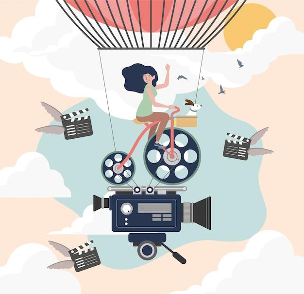 Affiche pour le festival du film. conception modifiable. imprimer. pour vos chemises.