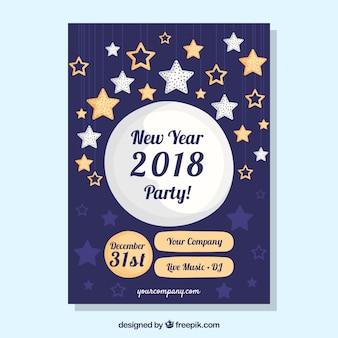 Affiche pour la fête du nouvel an avec de nombreuses étoiles