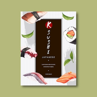 Affiche pour la publicité du restaurant de sushi.