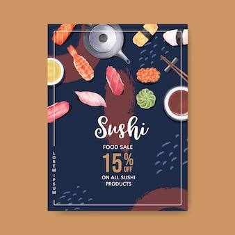 Affiche pour le restaurant sushi