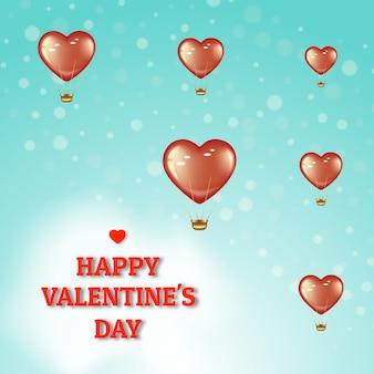 Affiche pour la saint-valentin et la journée internationale de la femme. voler des ballons rouges sur fond vert clair avec bokeh.