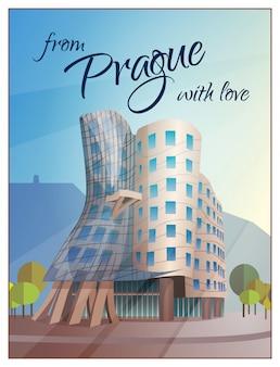 Affiche de prague de bâtiment de maison de danse