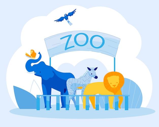 Affiche de présentation avec des animaux et des oiseaux du zoo