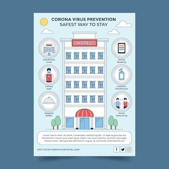 Affiche de prévention des coronavirus au design plat pour les hôtels