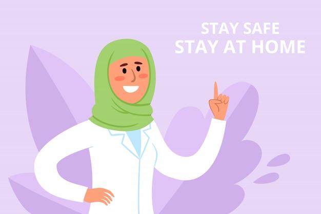 Affiche de prévention des illustrations avec smyling muslum femme médecin combattant le coronavirus avec des conseils - restez à la maison