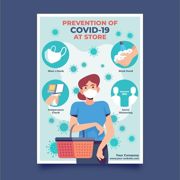 Affiche de prévention pour être en bonne santé dans les magasins