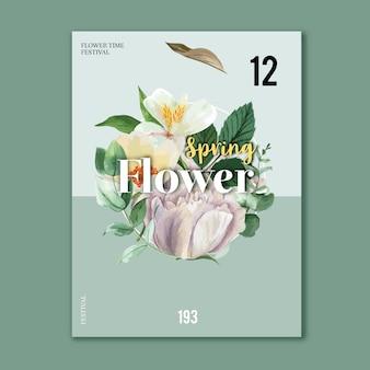 Affiche printanière fleurs fraîches