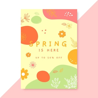 Affiche de printemps coloré doodle