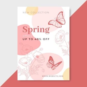 Affiche de printemps réaliste dessinée à la main