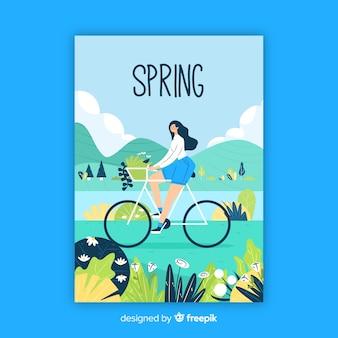 Affiche de printemps de saison dessiné à la main