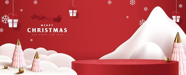 Affiche de produit de bannière joyeux noël forme cylindrique et décoration festive pour noël